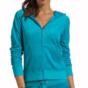 Juicy Couture Aqua Velour Zip Front Jacket - Small